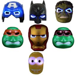 Wholesale High Quality Batman Mask - High Quality LED Mask LED Film Mask American Superhero Iron Man Batman Hulk Captain America Spider-Man Mask Glow Flash Halloween Children