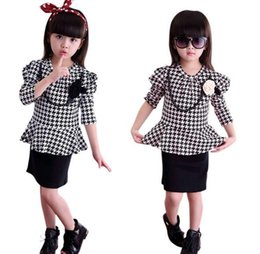 Wholesale Houndstooth Dresses Wholesale - New Children Clothing Swallow Gird Dress England Girls Kids Long Sleeve Cotton Dresses Flower Houndstooth Tops Child Clothing White Pink