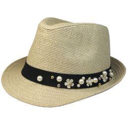 Wholesale Strawhat Fedoras - Wholesale- Summer women's black small fedoras female fashion jazz hat sunbonnet strawhat male summer