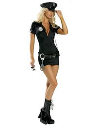 Wholesale Black Cop Uniform Outfits Sexy Police Officer Costume Club Game Deguisement Halloween Costumes Cosplay police costume women