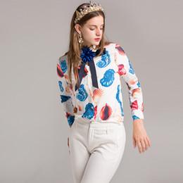 Wholesale Shirt Decals - 2017 Women shirt new ladies bowknot decals lapel single row buckle shell snail print shirt