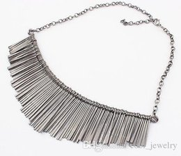 Wholesale Statement Necklace Metal Bib - 2016 New European and American fashion temperament delicate joker metal fringe necklace short Chain Choker Bib Statement necklace