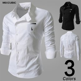 Wholesale Deer Shirt For Men - Wholesale- MIXCUBIC Autumn Oblique buckle long-sleeved shirts men deer Embroidery casual slim fit tooling shirts for men Camiseta M-2XL
