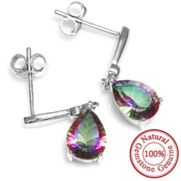 Wholesale Mystic Topaz Stones - High Quality 2ct Water Drop Genuine Rainbow Fire Mystic Topaz Drop Earrings 925 Sterling Silver For Women New Gem stone Jewelry