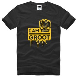 Wholesale Green Guardian - New Designer Fashion Printed Guardians of the Galaxy T Shirt Men Short Sleeve Cotton I Am Groot T Shirts Top Tees Shirt Big Size S-3XL