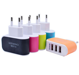 Wholesale Multiple Usb Adapters - EU US Plug 3 Ports Multiple USB Wall Charger Adapter Mobile Smart Phone Device 5V 3.1A powe adapter Fast Charging for iPhone iPad XiaoMi