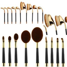 Wholesale Cheap Boxes Hair - 9pcs Oval Golf Toothbrush Makeup Brushes Sets Professional Foundation Powder Brush Tooth Brush Shape Cosmetic Brush Kits with Box Cheap