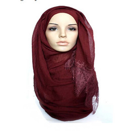 Wholesale Shawl Lace Hijab - 2016 Floral lace edges hijab shawl large size muslim scarves scarf pretty lace scarfs women solid scarf fashion plain shawl FS003