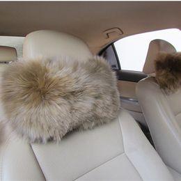 Wholesale Car Head Rest Covers - 1PCS Warm Soft Blended Wool Fur Car Headrest Pillow Furry Seat Covers Head Neck Rest Cushion