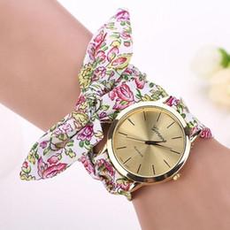 Wholesale Quartz Cloth - Montre 2017 Vogue Floral Strap Wristwatch Women's Jacquard Cloth Quartz Watch Women Geneva Bracelet Watches Relogio Feminino