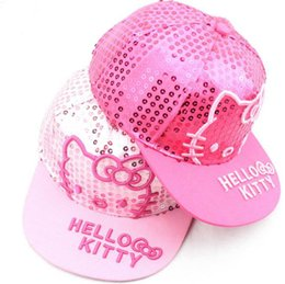 girls kitty hat Promo Codes - New Baby Kids Hats Children Cartoon Kitty  Embroidery Sequins Baseball cdb9bf710102