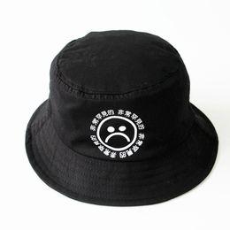 Atacado-frete grátis não se desvanece algodão respirável impressão preto hip hop cap meninos tristes panamá balde chapéus homens bob boonie chapéu de pesca de