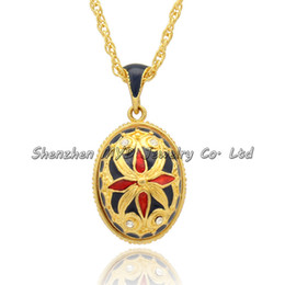 Wholesale Fashion Russian Style - Fashion jewelry real gold plating clear crystal handmade color enameled Russian style Spider Faberge egg pendant necklace for woman