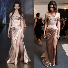 Wholesale Rose Pear - Sexy 2016 Rose Gold Elastic Silk Like Satin Off Shoulder Mermaid Evening Dresses Cheap Ruched Side Split Long Formal Gowns Custom EN102611
