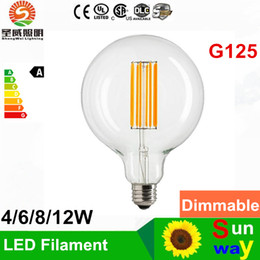 Wholesale E12 Led Globe Bulb - 4W 6W 8W 12W G125 filament LED bulbs light E27 E26 dimmable led bulb 2200k CE ROHS SAA UL Approval