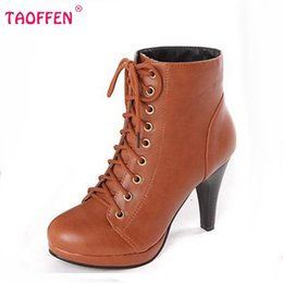 Wholesale Sexy Ladies Heel Lace Boots - Wholesale- Women Ankle Boots High Heel Winter Fashion Botas Sexy Warm Fur Lady Boot Heels Footwear Shoes P1962 EUR Size 34-39