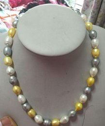 Wholesale Gray White Pearl Necklace - 18 NCH SOUTH SEA WHITE GOLD GRAY PEARL NECKLACE 14K GOLD CLASP