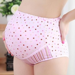 Wholesale Pink Cotton Knickers - Good Quality Maternity Panties Printing Briefs High-Waist Knickers Adujustable Underpants Pregnant Women Underwear Intimates RC0017