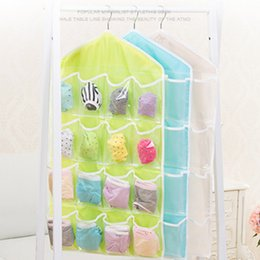 Wholesale Hanging Door Pocket Organizer - Hot Selling 16 Pockets Foldable Wardrobe Hanging Bags Socks Briefs Organizer Clothing Hanger Closet Shoes Underpants Storage Bag JC0202