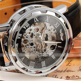 Wholesale Band Hands - Fashion Winner Black Leather Band Stainless Steel Skeleton Mechanical Watch For Man Gold Mechanical Wrist Watch Manual mechanical Watches