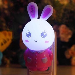 Wholesale Baby Doll Heads - Wholesale- High Quality Silicone Dolls Nightlight Baby Bedroom Wall Lamp LED Rabbit Head Nightlight Bunny Light For Indoor With US Plug