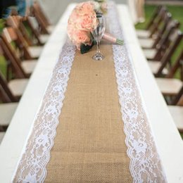 Wholesale Rustic Tablecloths - Natural Burlap Table Runner Hessian Vintage Tablecloth Cover with Jute Lace Love Pattern for Wedding Party Rustic Decor