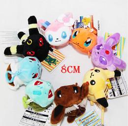 Wholesale Pokemon Stuffed Set - 2016 New 8cm Cartoon Poke mon plush toys keychains POKE MON Stuffed Animals Strap Keychain Children best gift 8 style set