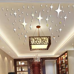 Venda por atacado - 50 peças / pacote de forma de estrela Acrílico 3D adesivos de parede sala de estar quarto sala de teto espelho adesivo de parede decoração de casa P17 de