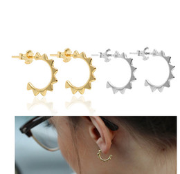 Wholesale Earring Girls Allergy - 2017 anti allergy 925 sterling silver rose gold rhodium plated Mini circle spike girl women 925 silver delicate earring