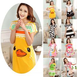 Wholesale Wholesale Polka Dot Pajamas - Wholesale-Hot Selling New Summer Women Cute Animals nightgown Cartoon Polka Dot Sleepwear Pajamas Short Sleeve Sleepshirt Night Rope Z1