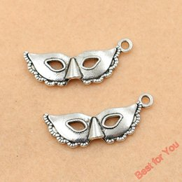 Wholesale Silver Mask Charms - 60pcs Tibetan Silver Plated Fashion Mask Charms Pendants For Jewelry Making Diy Craft Handmade 31x12mm jewelry making