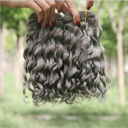 Wholesale Curly Dye Colors - HOT Sale Silver Grey Human Hair Extensions 3Pcs Lot Pure Color #Gray Deep Curly Peruvian Hair Weaving Wefts 8A Grey Curly Hair Weave