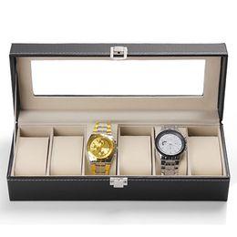 Wholesale Watch Cases - Wholesale-6 Slots Faux Leather Wrist Watch Display Box Storage Holder Organizer Case