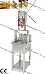 Wholesale free standing electric - Free Shipping 2016 New Stainless Steel 3L Five Nozzles Manual Spainish Churros Machine Maker + 20L 220v Electric Deep Fryer + Working Stand