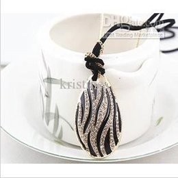 Wholesale Heart Print Sweater - Free Shipping Korea lady joker long droplets crystal pendant necklace multi-level zebra-print sweater chain wholesale price