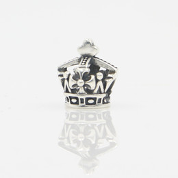 Wholesale 925 Stamped Sterling Silver Pendant - Antique Silver Bead S925 Stamp 925 Sterling Silver Crown Charms Beads Fit Original Pandora Bracelet Pendant Authentic DIY Jewelry Making