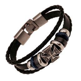 Wholesale Cross Bracelets Man - Fashion Jewelry Relief Cross Alloy Leather Bracelet Men Casual personality PU Woven Beaded Bracelet Vintage Punk Bracelet B0448