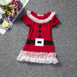 Wholesale mardi gras short dresses - New Children Christmas Special Occasions Girls Cotton Lace Tutu Dresses Kids Baby Red Santa Design Toddler Infant Short Sleeve Clothing Sets