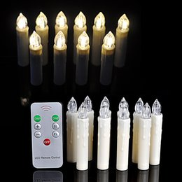 Wholesale Led Christmas Lights C7 - 10Pcs lot Warm White Party Wedding Christmas Birthday Candle Led Lights Flameless Lamps + Wireless Remote Control CE Certification
