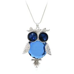 Opal diamant halskette anhänger online-Weinlese 70CM Kristall + Alloy + Diamant-Eulen-Anhänger-Strickjacke-lange Halsketten-Luxuxopalrhinestone-Charme-Halsketten-Art- und Weiseaussagen-Schmucksachen