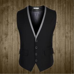 Wholesale Polyester Mens Dress Vests - Men Suit Vest 4 Buttons V Collar Classic Dress Slim Fit Vests Male Sleeveless Mens Formal Wedding Waistcoat Plus Size