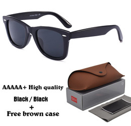 Wholesale Metal Hinge Sunglasses - AAAAA+ High Quality Metal Hinge Sunglasses men Women Brand Designer UV400 glass lens Plank frame Sun glasses With brown case and Box