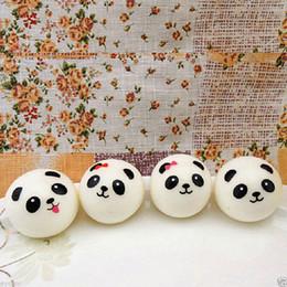 Wholesale Cute Kawaii Bags - 20 pcs lot Cute 4cm Panda Squishy Kawaii Buns Bread Charms Bag Key Cell Phone Straps Pair Random Soft Panda Squishy Bread Semll