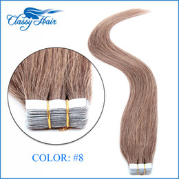 Wholesale Hair Chestnut - Chestnut Brown Straight Adhesive Skin Wefts Tape In Human Hair Extensions PU Tape Hair 20pcs set 16 18 20 22 24 inches Large Stock