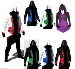 Wholesale custom zipper hoodies - Hot Sale Custom handmade Fashion Assassins Creed 3 III Connor Kenway Hoodies Costumes Jackets Coat 12 colors choose direct from factory