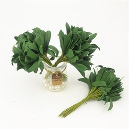 Wholesale Blue Christmas Wreaths - 20pcs Green Christmas Pe Leaves Artificial Flower For Wedding Decoration Garland Rose Leaf Decorative Craft Fake Flowers