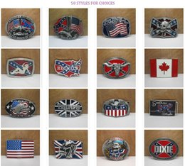 Wholesale Men Belt Buckles Western - 58 Styles UK Canada Flag American by Birth Southern Grace of God Western Belt Buckle Pride Rebel Flag USA For Men