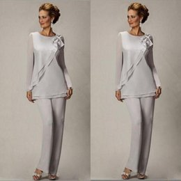 Wholesale Groom Suits For Weddings - Elegant 2017 Plus Size Silver Pants Suit For Mother of The Bride Groom Beaded Chiffon Wedding Party Evening Gowns