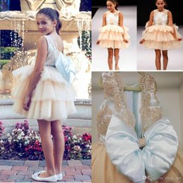 Wholesale Cute Cheap Bows - 2017 New Cute Baby Girl Flower Girls' Dresses Crew Neck Backless Lace Bodice Short Toddler Bow Tiers Skirt Cheap Kids Formal Wear