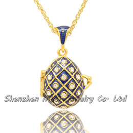 Wholesale Enamel Egg - Fashion jewelry findings women clear crystal Faberge style Easter egg pendant locket necklace hand enamel Halloween Gifts